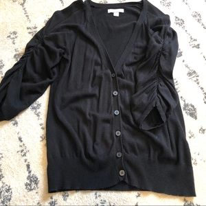 Ruched sleeve black cardigan